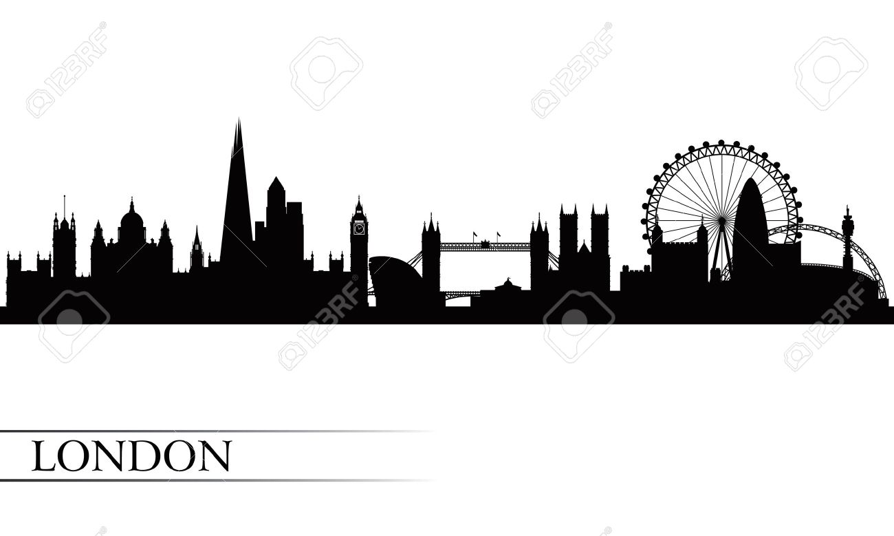 London City Skyline Silhouette Background Vector Illustration Stock
