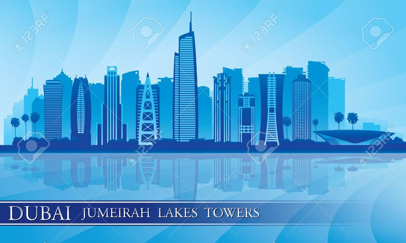 Dubai Jumeirah Lakes Towers skyline silhouette background, City illustration - 29478765