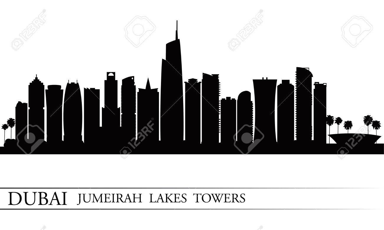 Dubai Jumeirah Lakes Towers skyline silhouette background, City illustration - 29478730