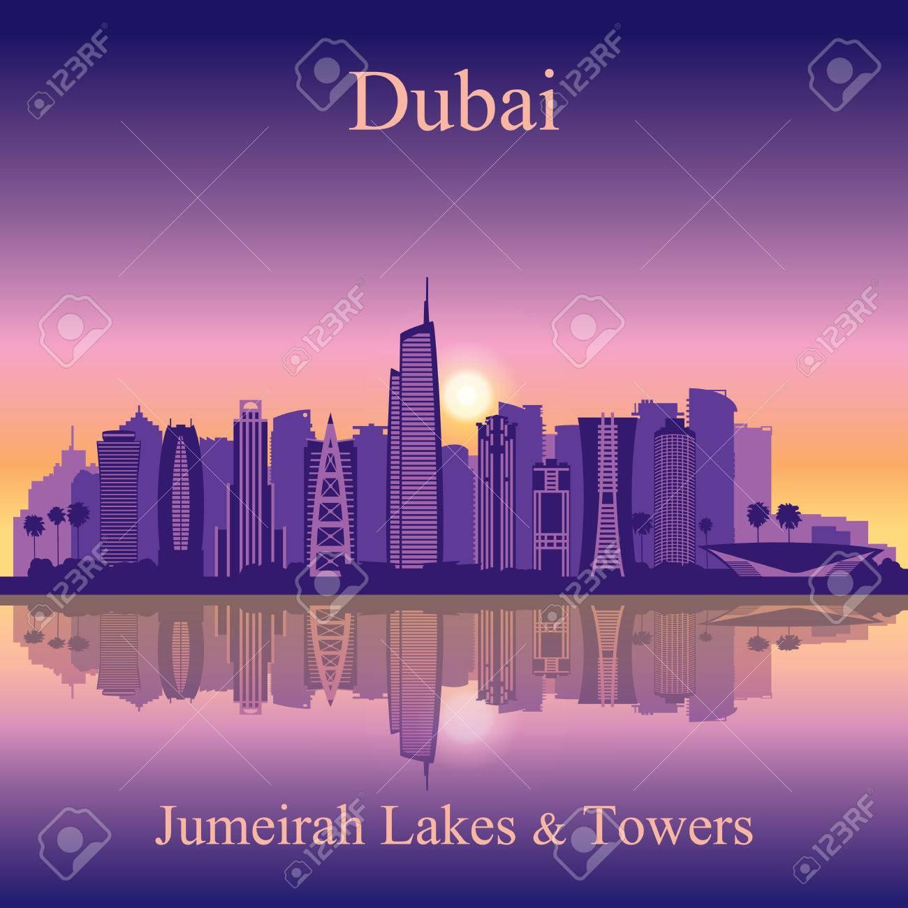 Dubai Jumeirah Lakes Towers skyline silhouette background - 46711367