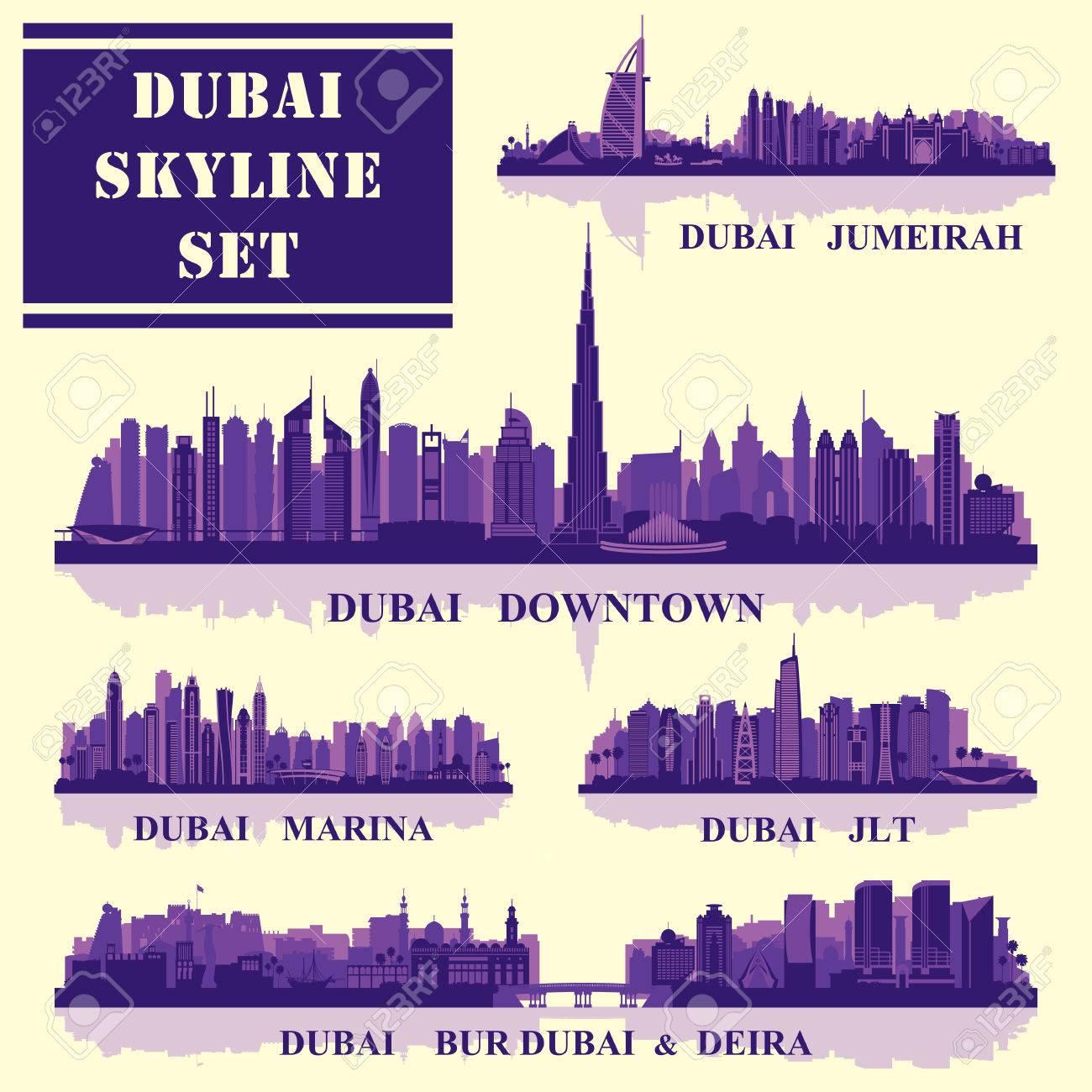 Set of Dubai districts, vector illustration - 55014783