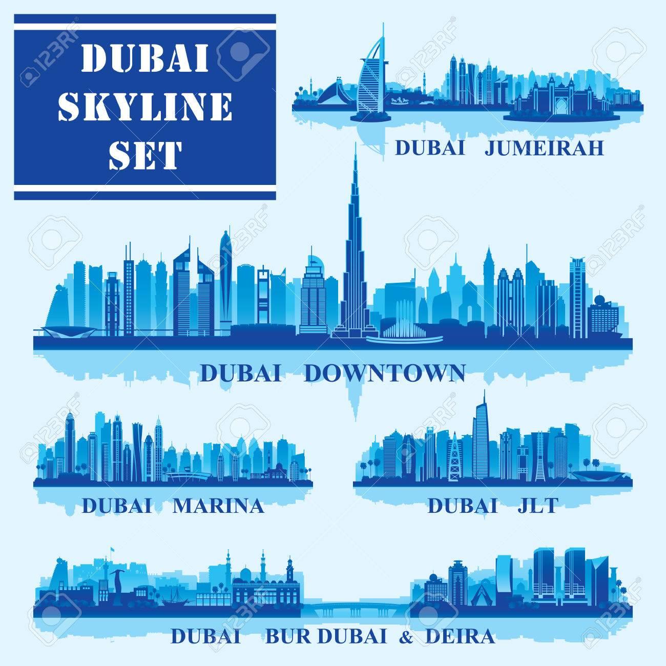 Set of Dubai districts, vector illustration - 55014781