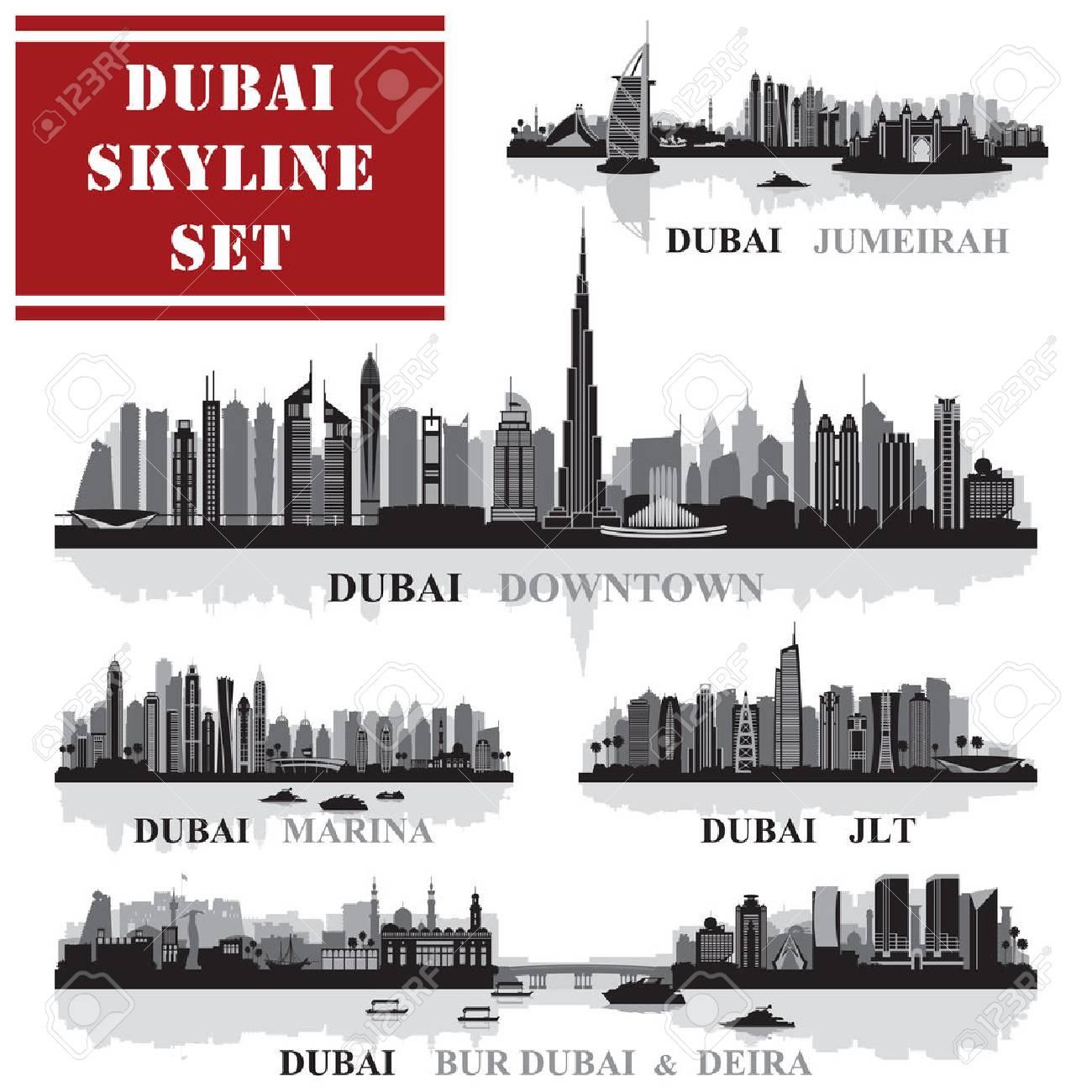 Set of Dubai districts, vector illustration - 55014789