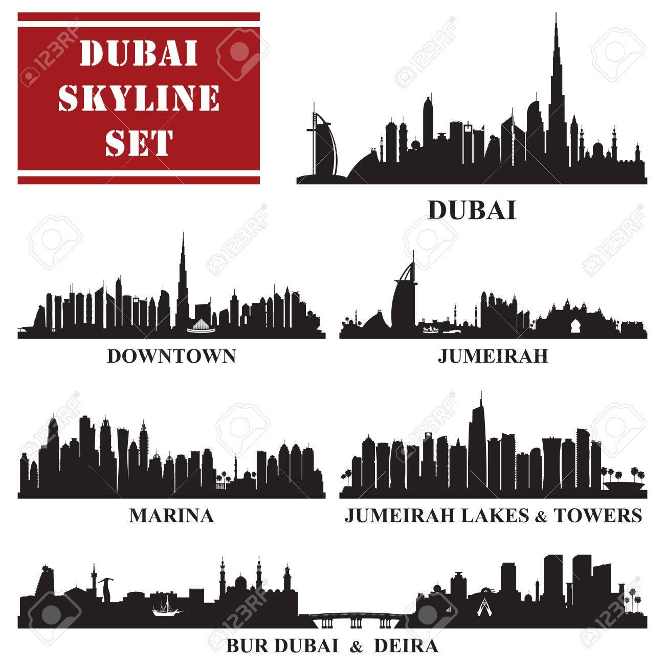 Set of Dubai districts, vector illustration - 55014790