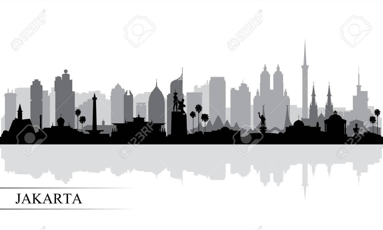 Jakarta city skyline silhouette background, vector illustration - 122902005