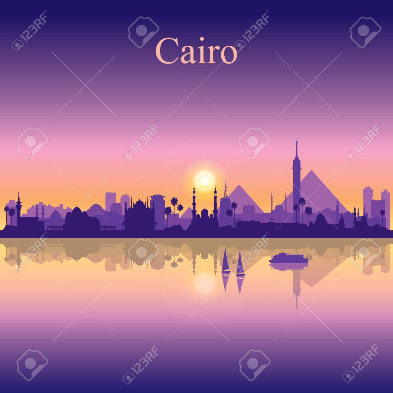 Cairo city silhouette on sunset background vector illustration - 138663761