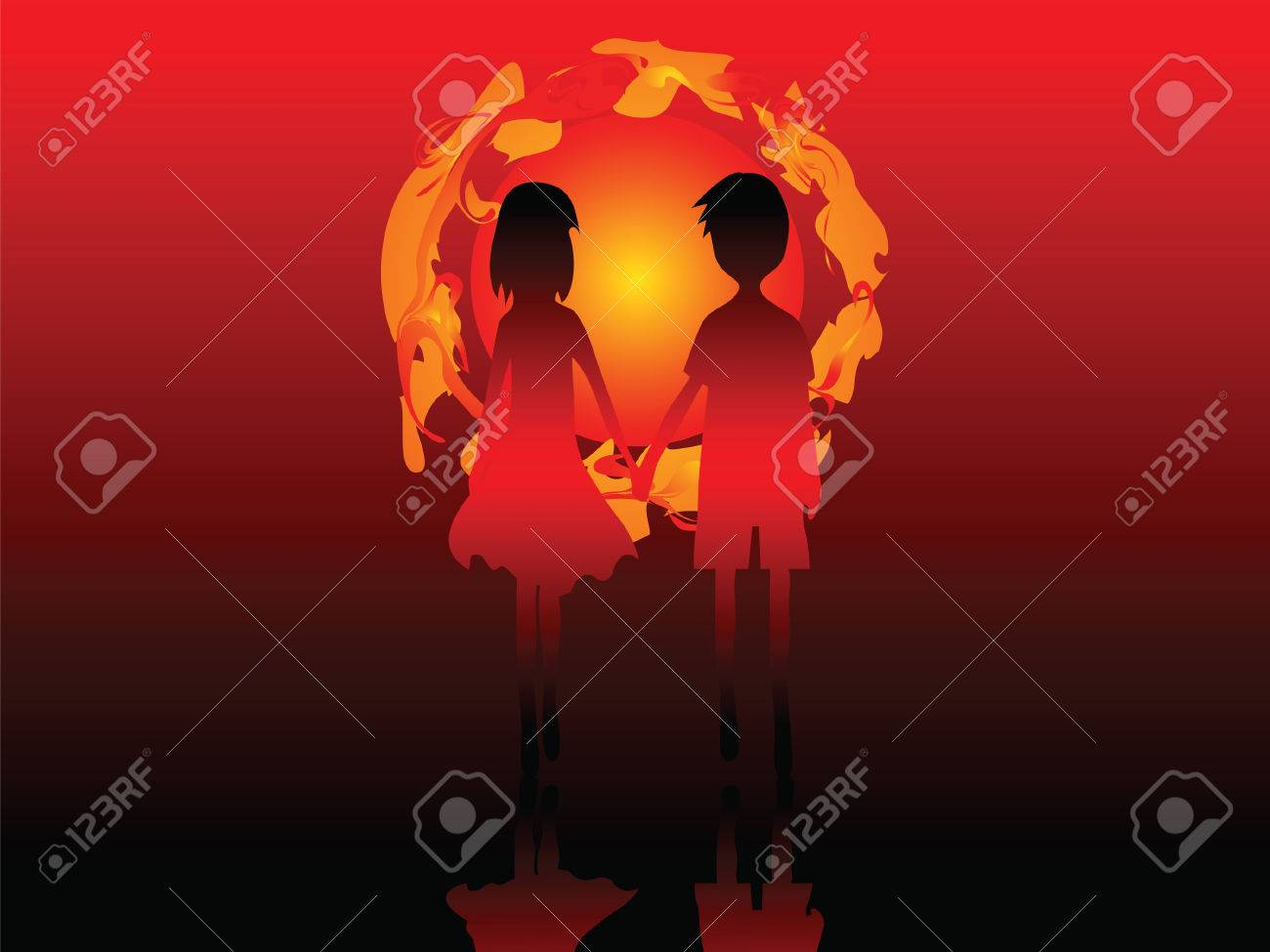Romantic couple. Love the boy and girl on the background of the setting sun. Stock Vector - 6354497