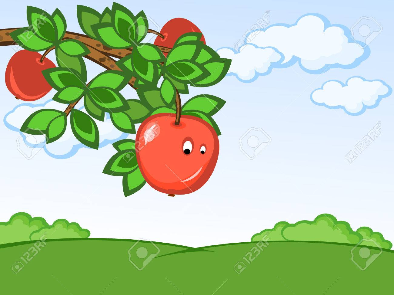 Rural landscape. Branch of a tree with apples. Comics. Stock Vector - 6923126