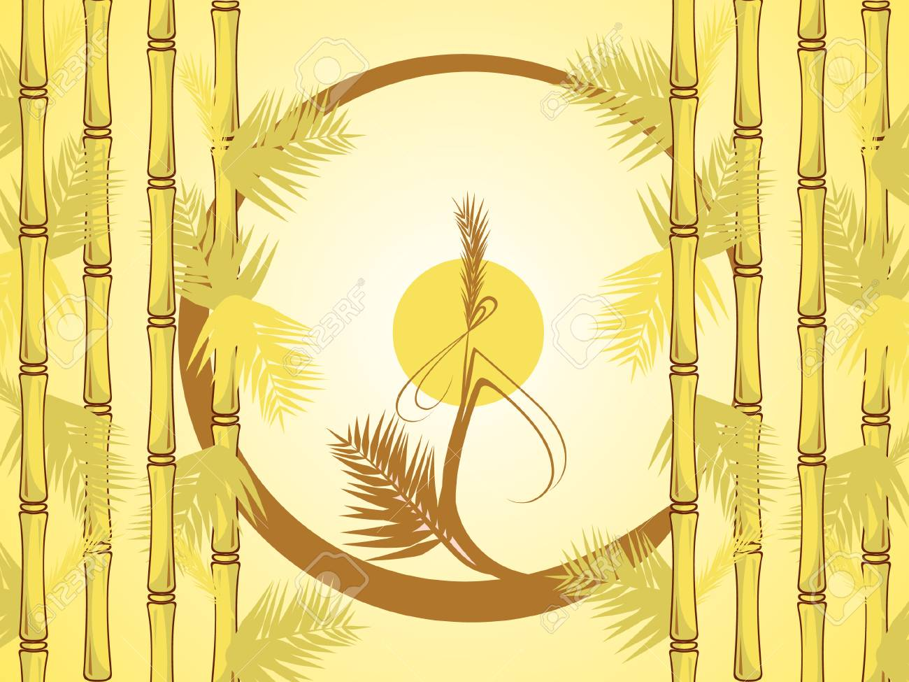 the bamboo branch in the form of the circle. Stock Vector - 7842760