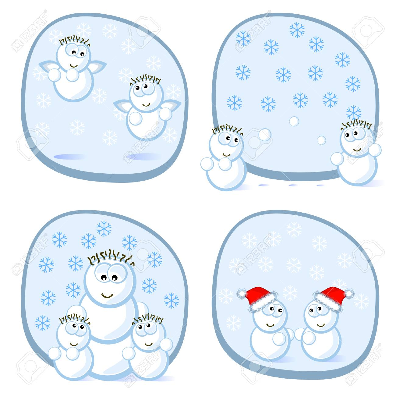 Cheerful snowmens. Children and mum. A set of scenes. Isolated. Stock Vector - 8332520