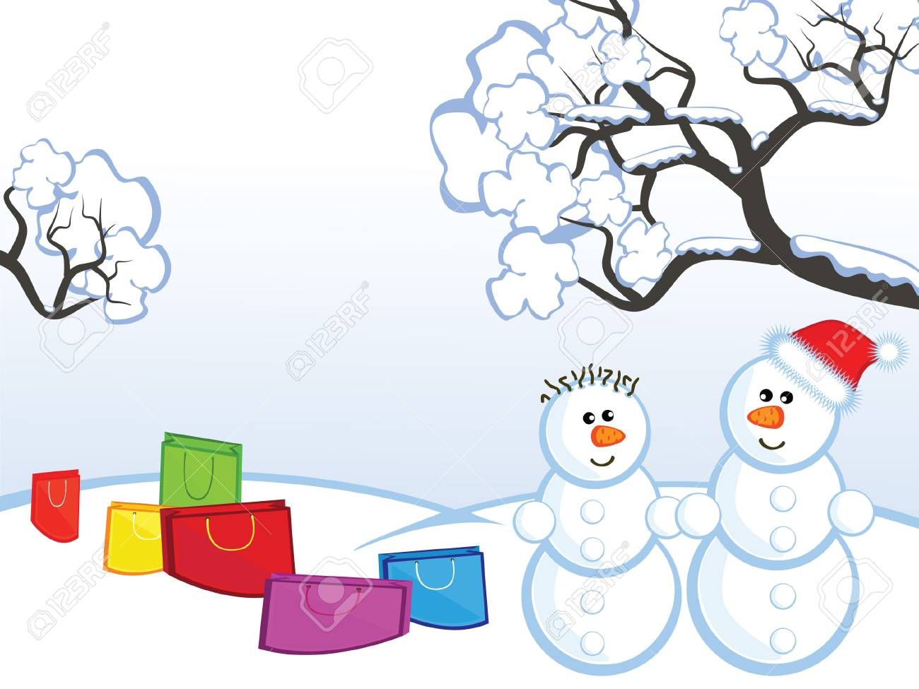 The Winter landscape. The Pair an snowmen. Around them packages with buying. Stock Vector - 8499519