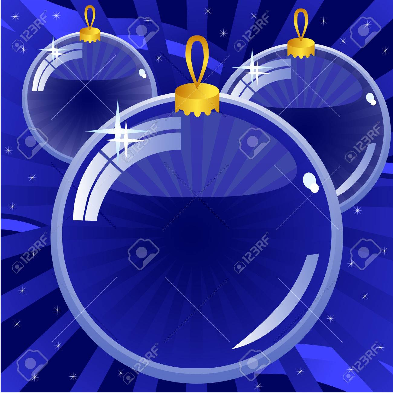 New Year's background dark blue. Three glass balls. Stock Vector - 8517696