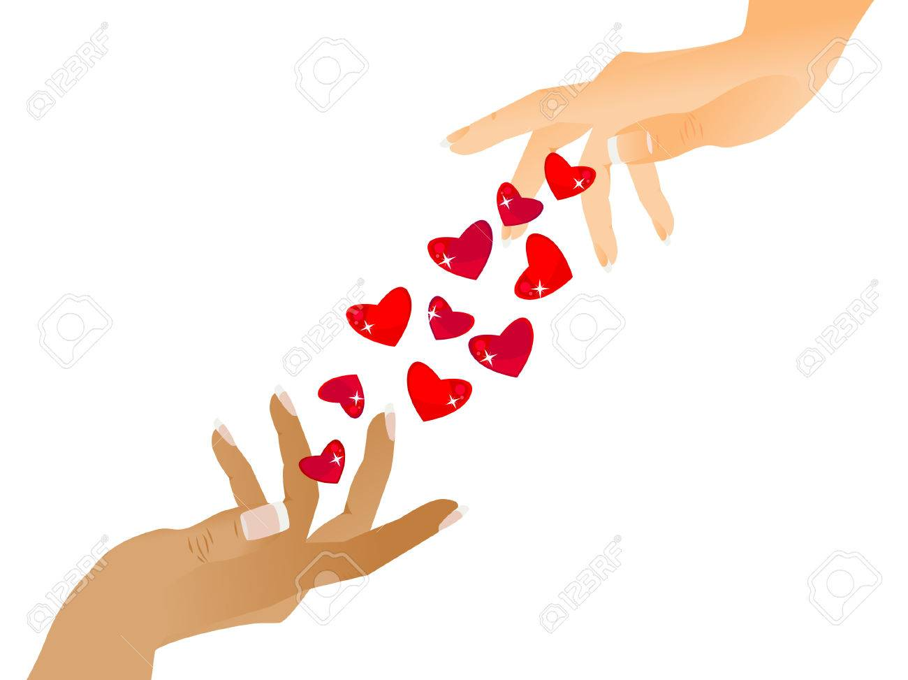 One hand gives another beautiful hearts. Congratulations to the Happy Valentine's Day. Isolated. Stock Vector - 8730696