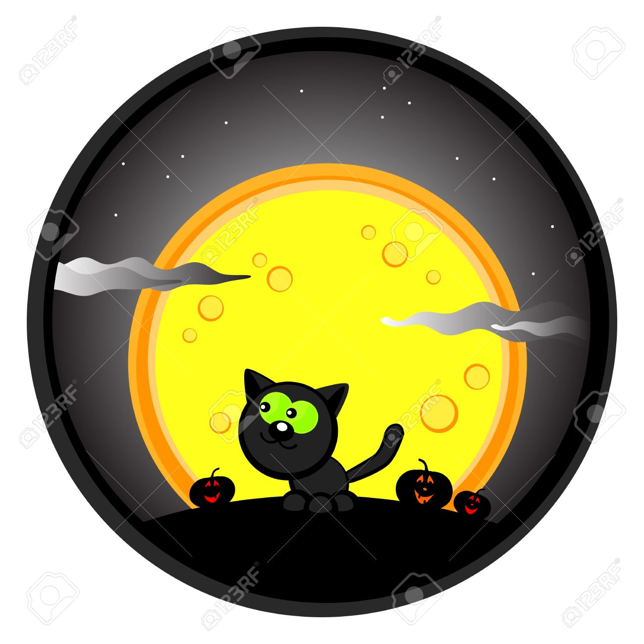 Cute Halloween Drawing. Black Cat In The Night Sky And Moon ...