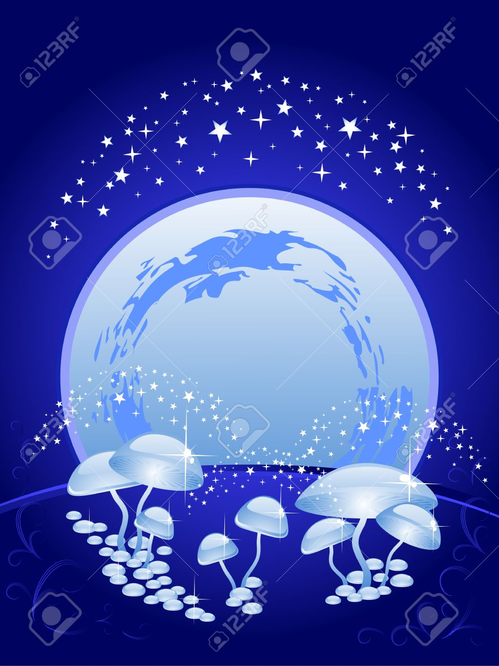 background blue. The beautiful night scenery. The sky, full moon, magic mushrooms. Halloween. Stock Vector - 10849009