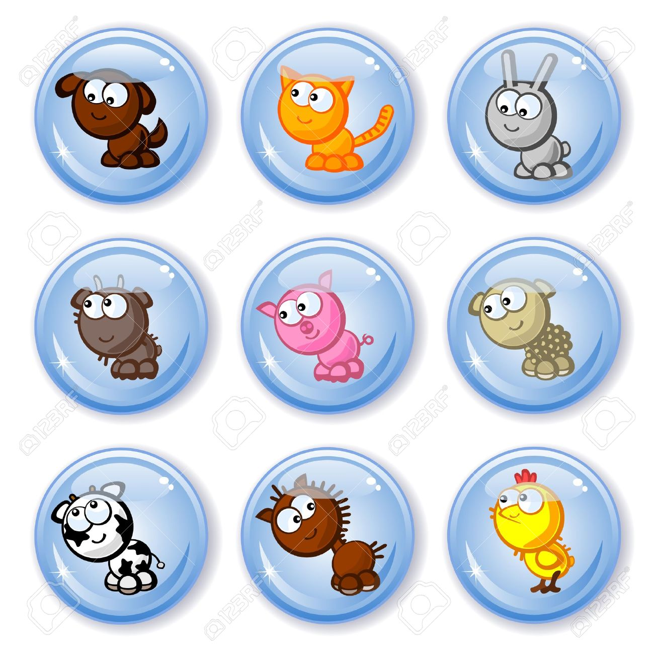 Set of vector buttons isolated. Cute farm animals. Children's comic style drawings. Stock Vector - 11012733