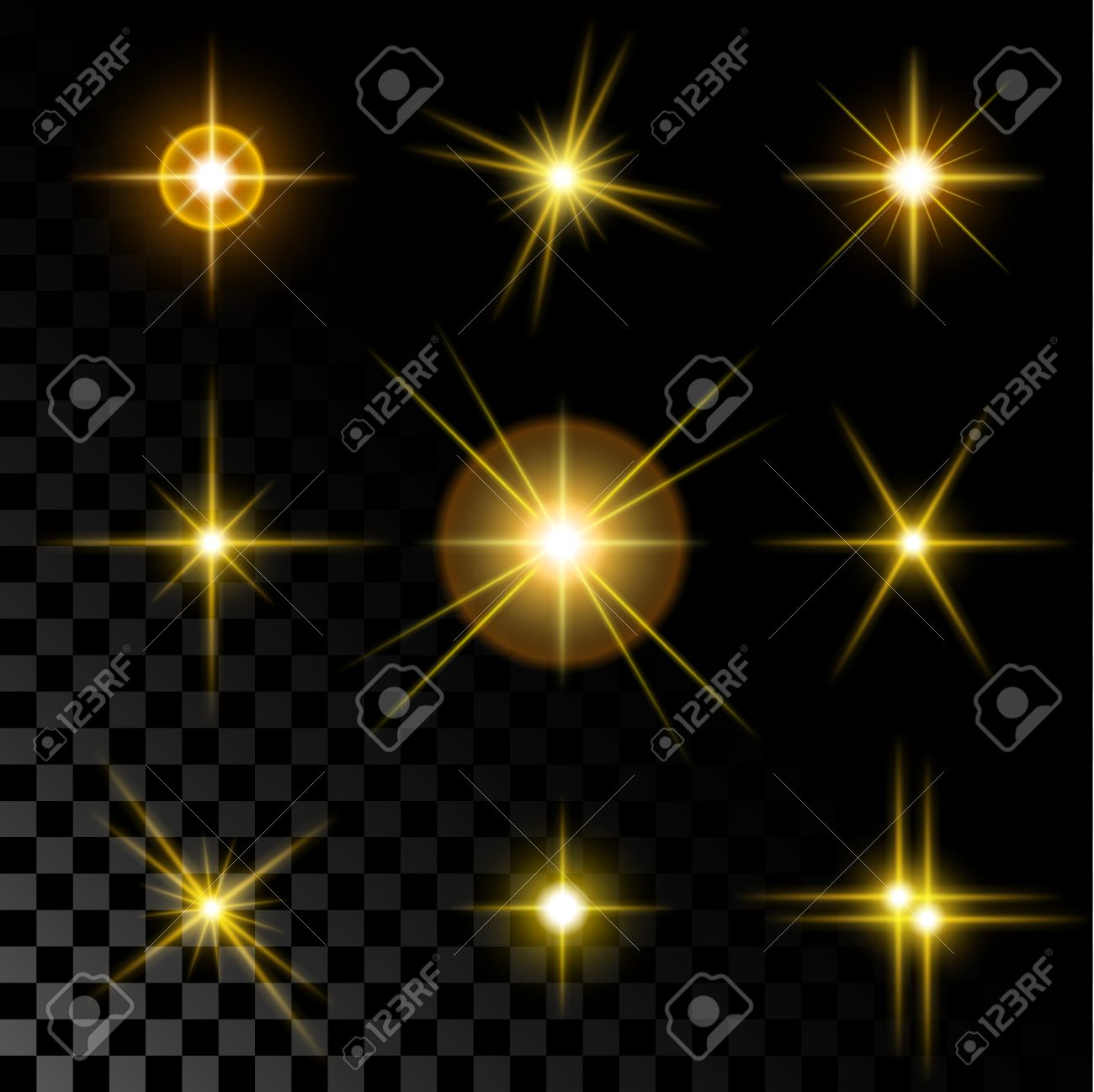 Set of the realistic sparkling gold star fires and flashes on a transparent background a vector illustration. - 58690078