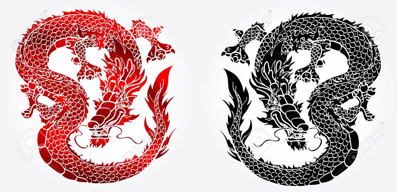 Astuto Dragón Chino Asiático En El Fondo En Blanco Y Negro Y La