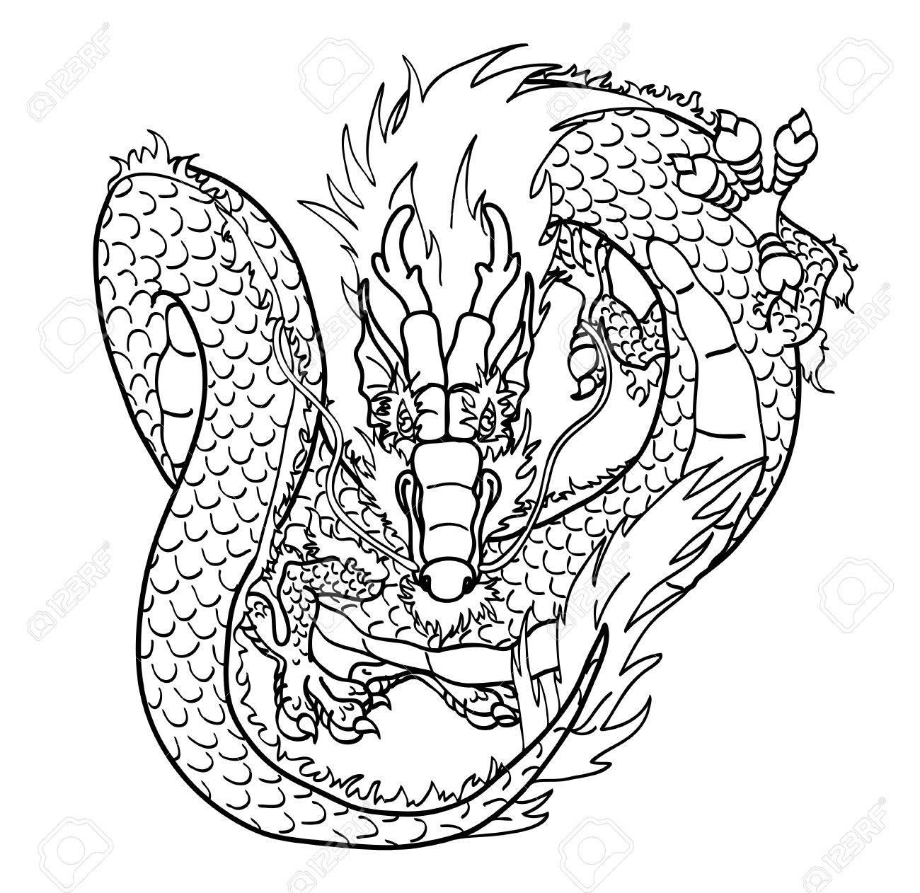 Volar Asiática Dragón Chino Línea De Contorno Negro Sobre Fondo