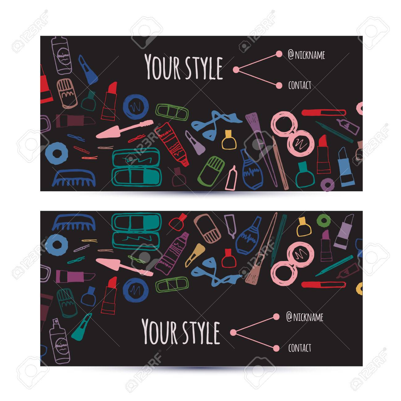 Business Creative And Invitation Cards Template With Beauty Items Cosmetics Vector Dark Colorful Design