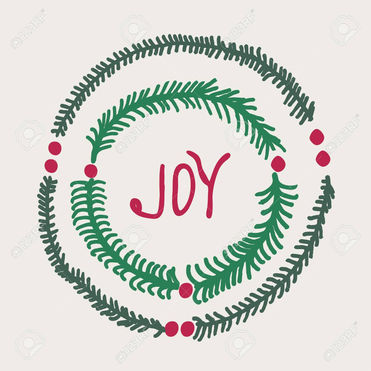 Greeting Card - Joy. Christmas Wreath Hand Drawn Fir Tree Branches ...