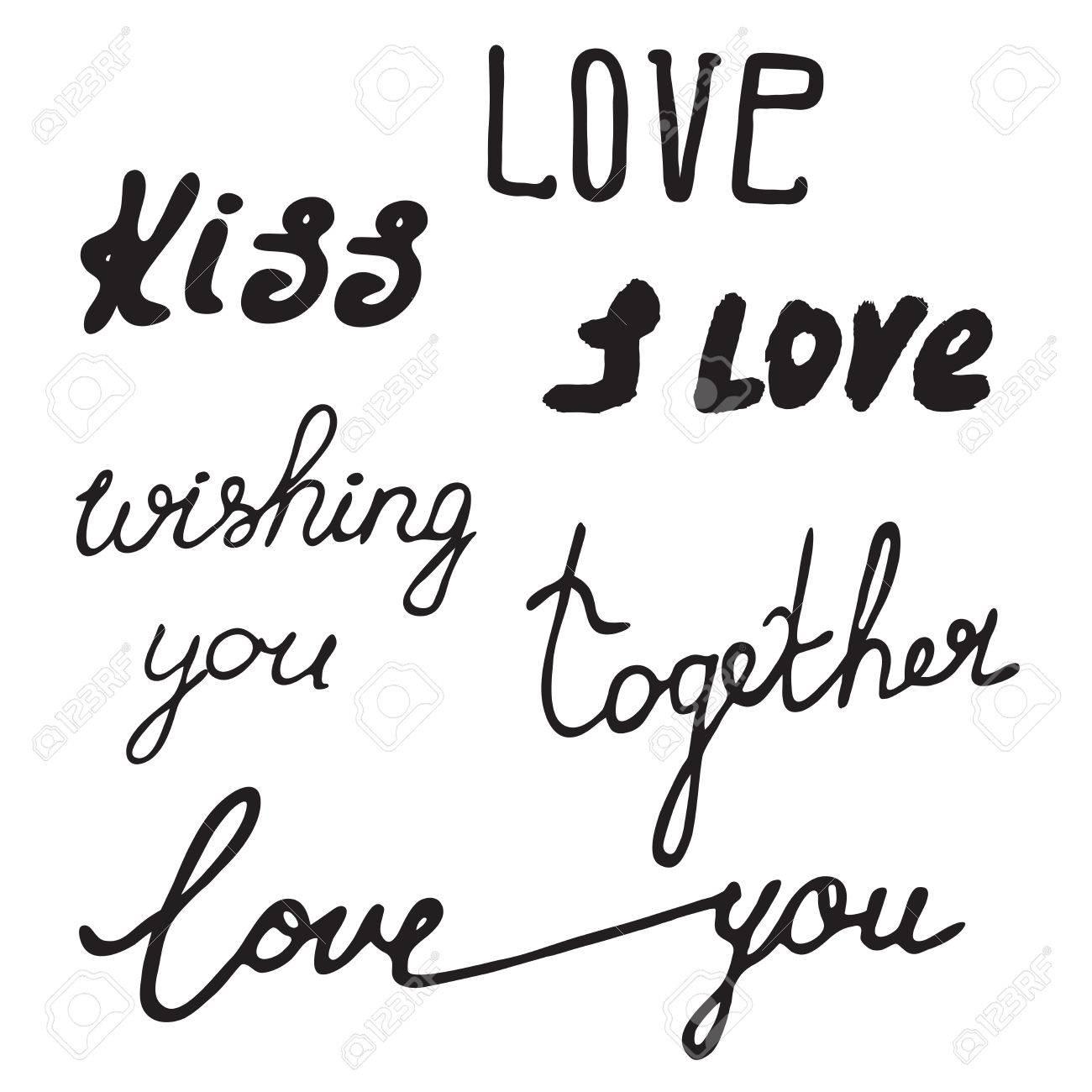 Letras Dibujadas A Mano Frases De Caligrafía De Día De San Valentín Para La Tarjeta De Invitación De Boda Papel De Regalo Y Diseño