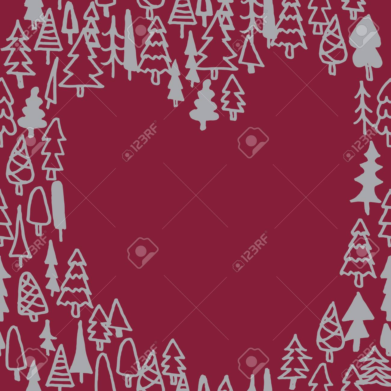 Seamless Pattern With Hand Drawn Pine Forest Heart Silhouette ...