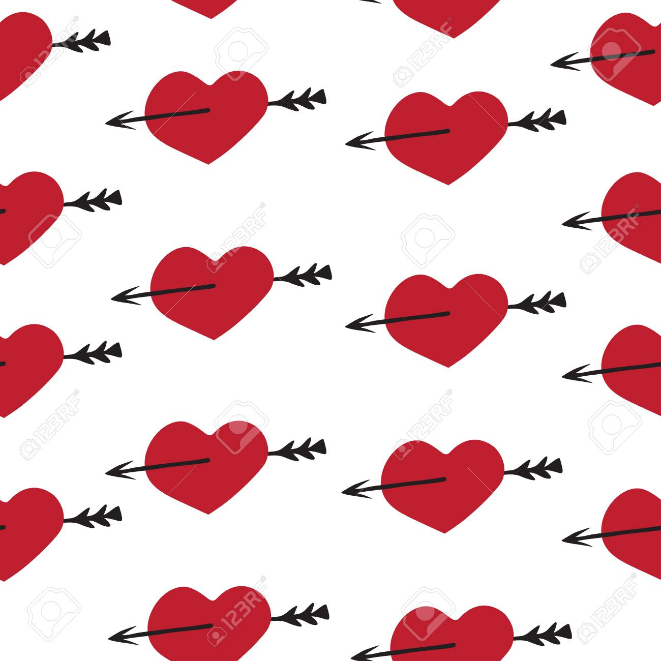 Love Seamless Pattern Romantic Elements Heart And Arrow For