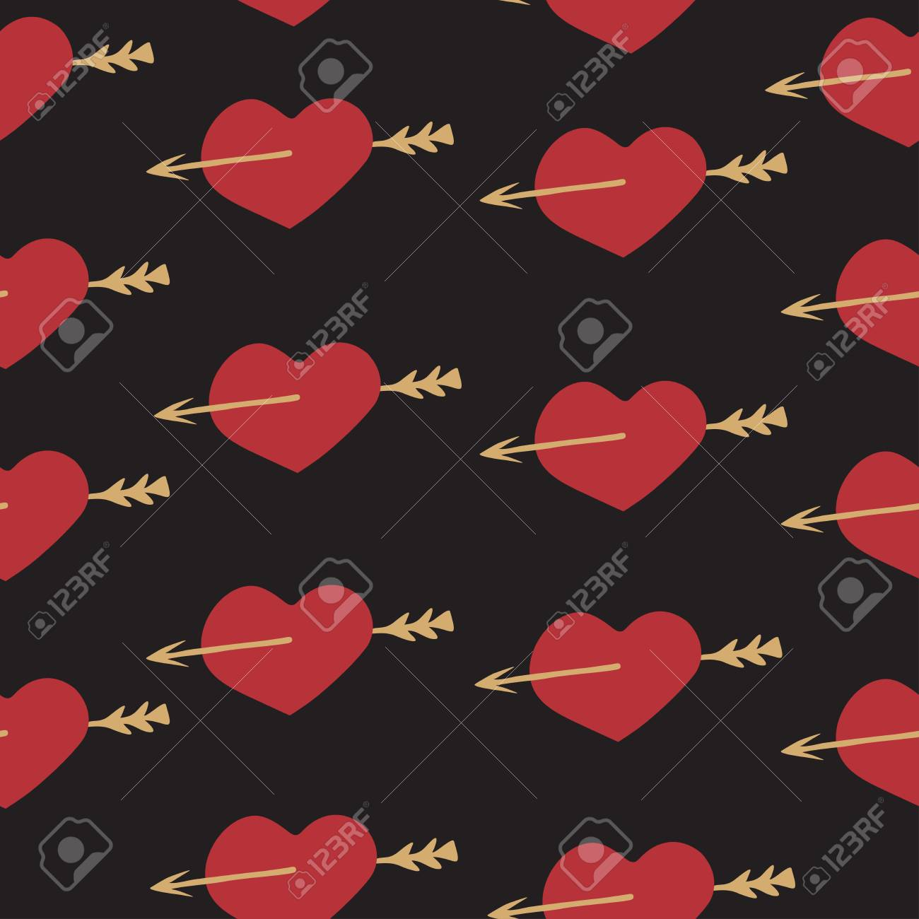 Love Seamless Pattern Romantic Elements Heart And Arrow For ...