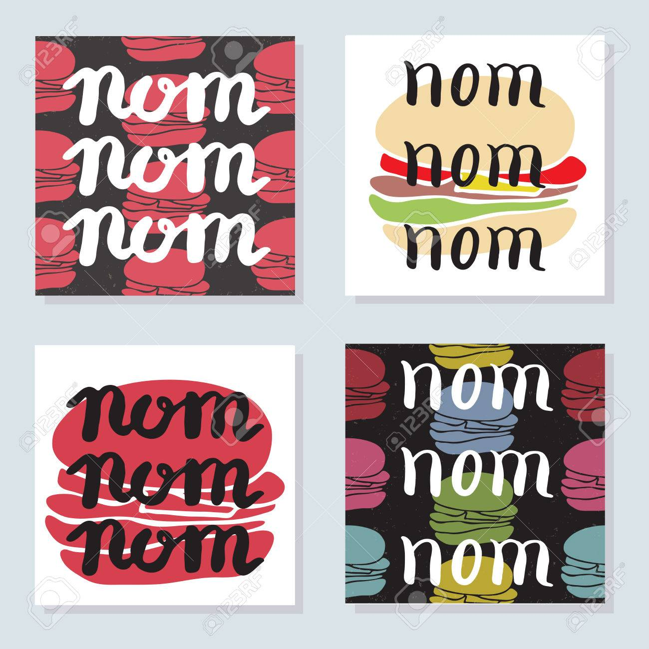 Set Of 4 Bright Cards With Food Typographic Quotes And Burgers