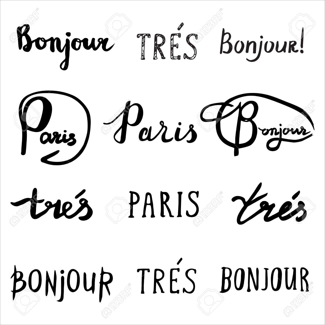 Dibujado A Mano Colección De Frases Francés Bonjour Hola Tres Muy Y París Escrita A Mano Inspirado Cepillo De La Caligrafía Moderna Tarjetas