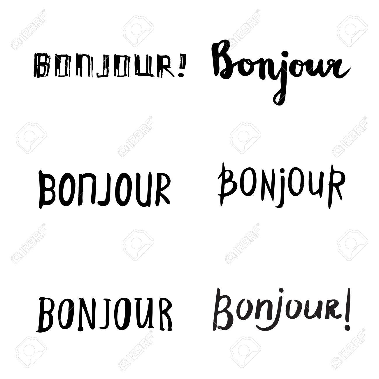 Inspirational Phrases Hand Drawn Bonjour Phraseshello In Frenchhandwritten