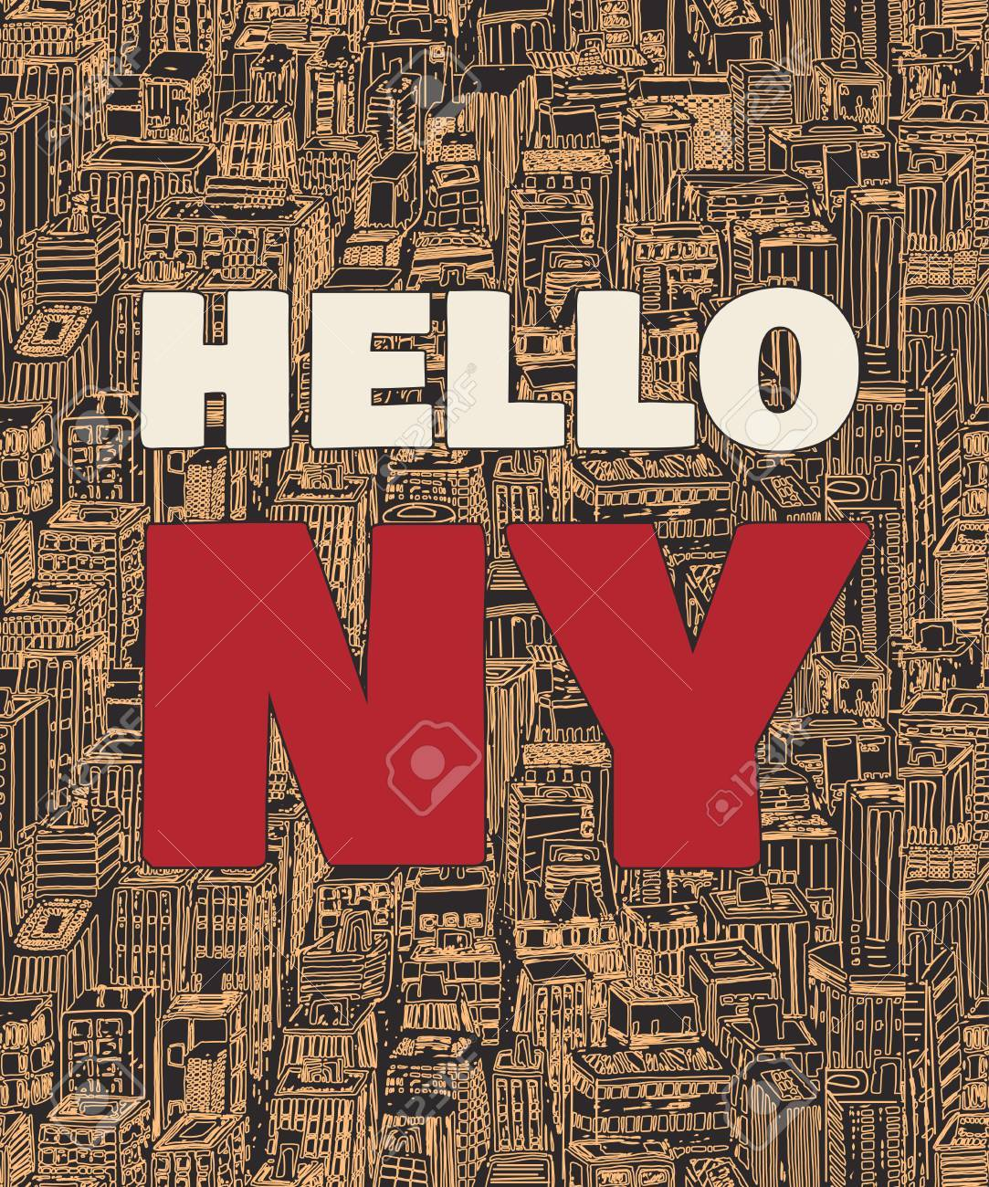 Vector   Vintage Poster With Quote Hello New York, Seamless Background Hand  Drawn Pattern With Architecture, Skyscrapers, Megapolis, Buildings, ...