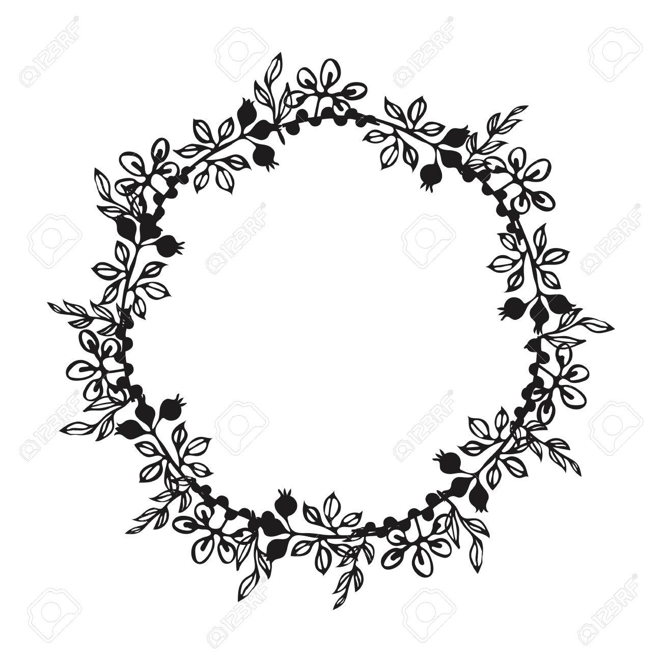 Hand Drawn Wreath Floral Design Elements For Invitations Greeting