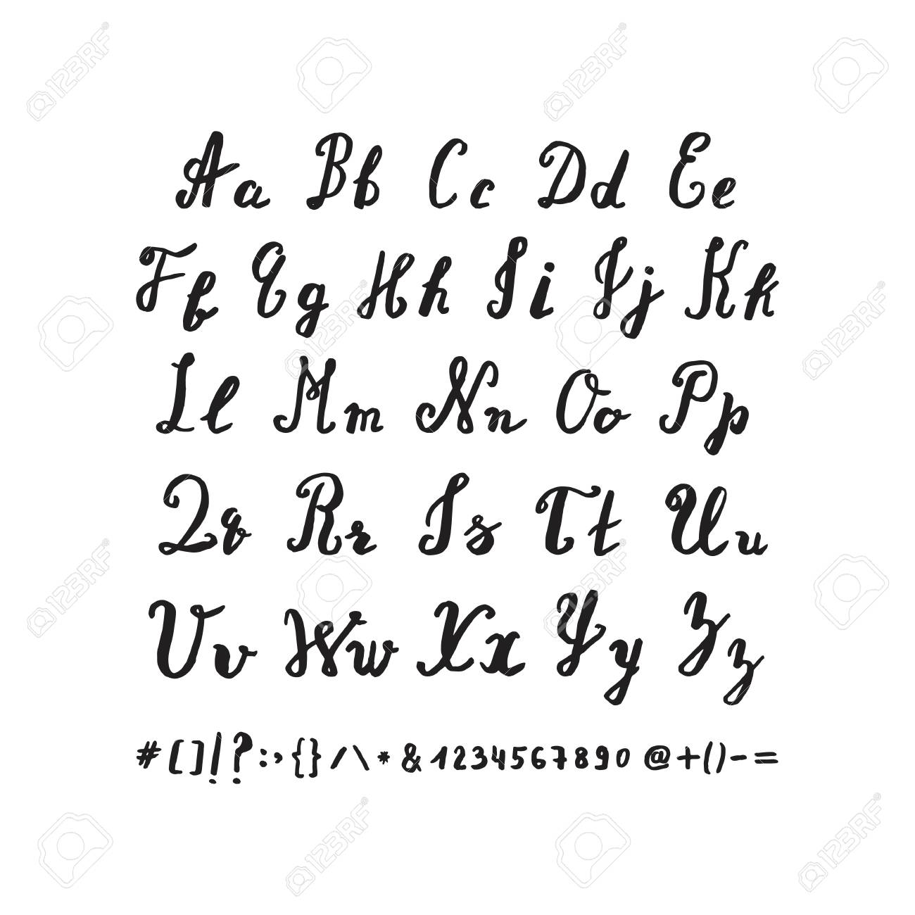 Hand Drawn Alphabet Vector Letters By Brush Pen Isolated On A White Background