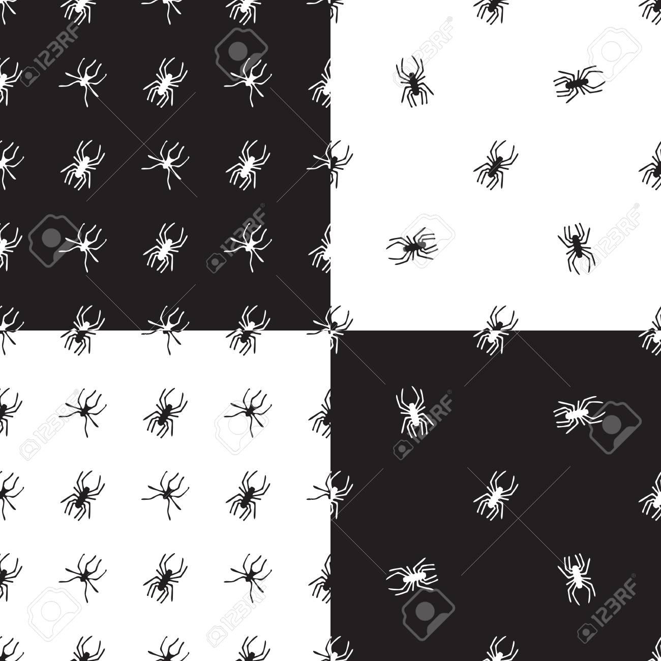 Patrones Sin Fisuras Con Arañas. Vector único Dibujado A Mano ...