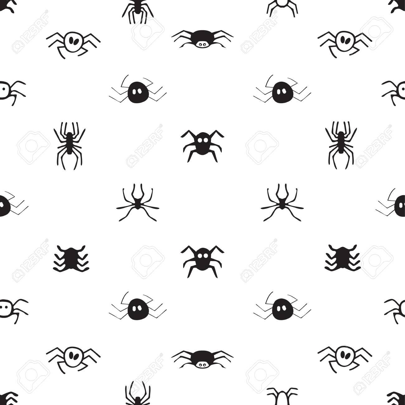 Modele Sans Couture Avec Des Araignees Fond D Halloween Illustration Vectorielle Clip Art Libres De Droits Vecteurs Et Illustration Image 88591031