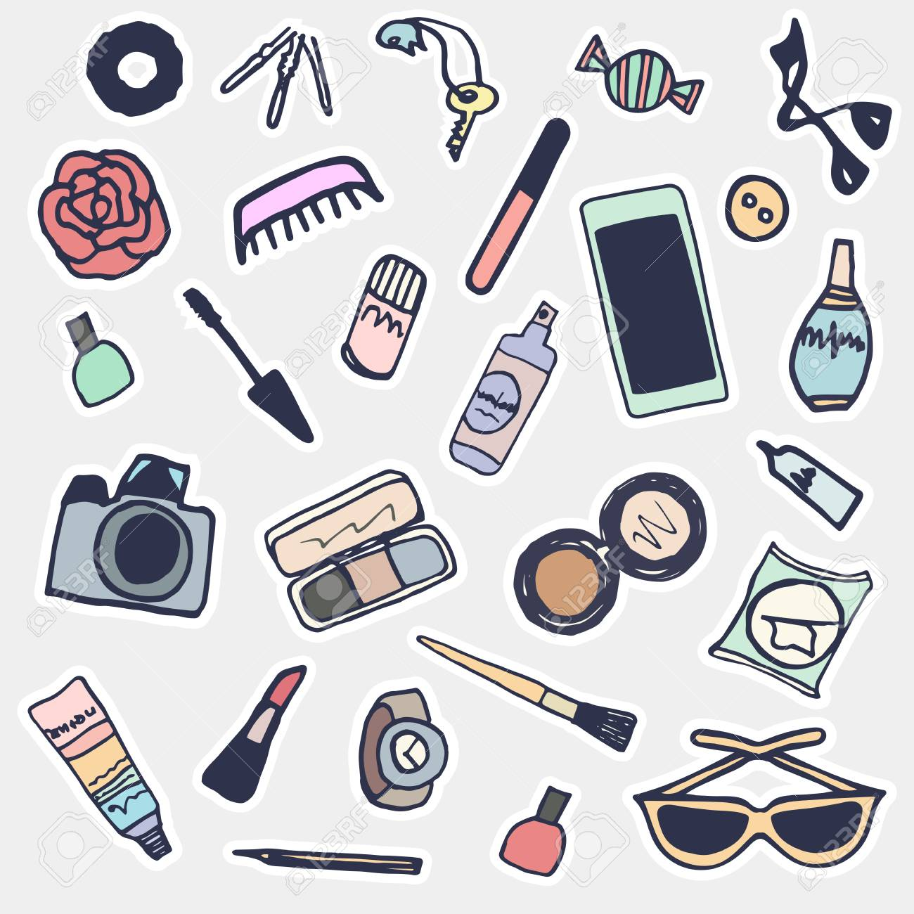 Sticker beauty items set. Hand drawn cartoon fashion patches,..