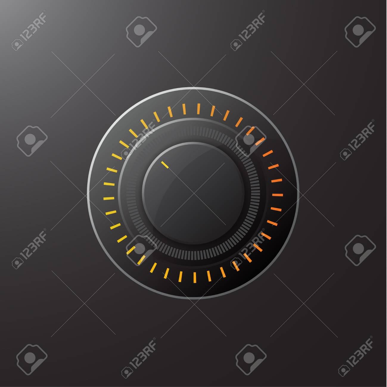 Manual control knob plastic, volume settings, sound control. Vector illustration. - 112038815