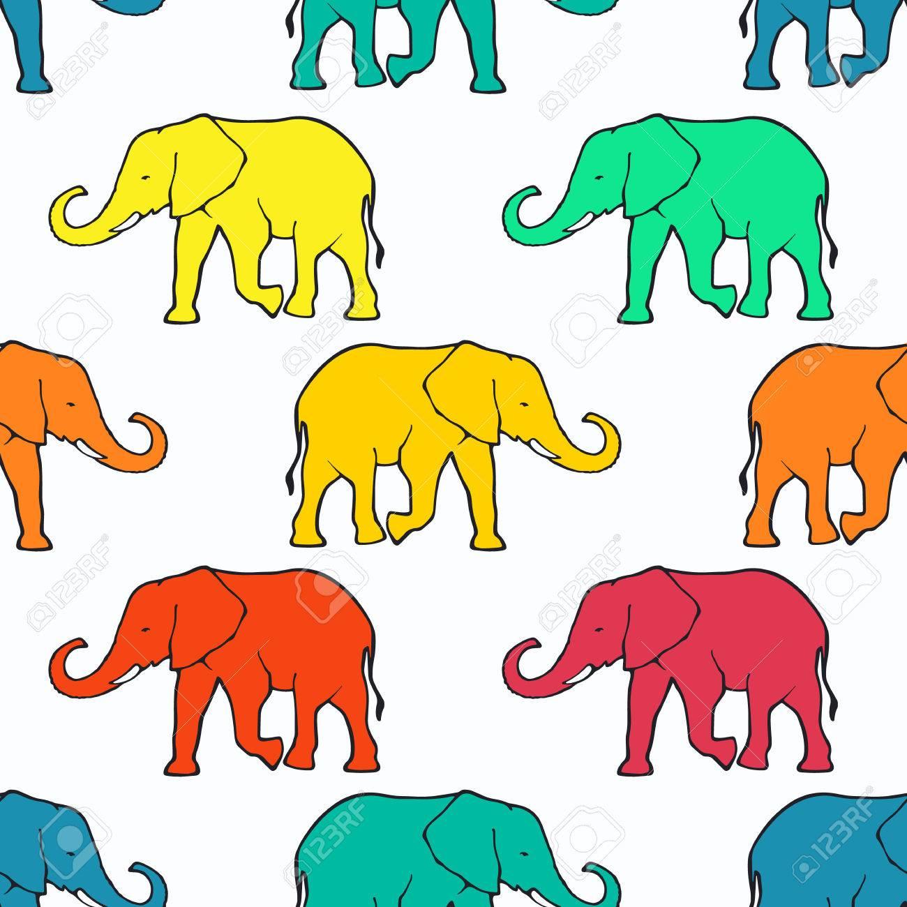Nahtloses Muster Mit Hand Gezeichnet Dekorative Elefanten Vorlage
