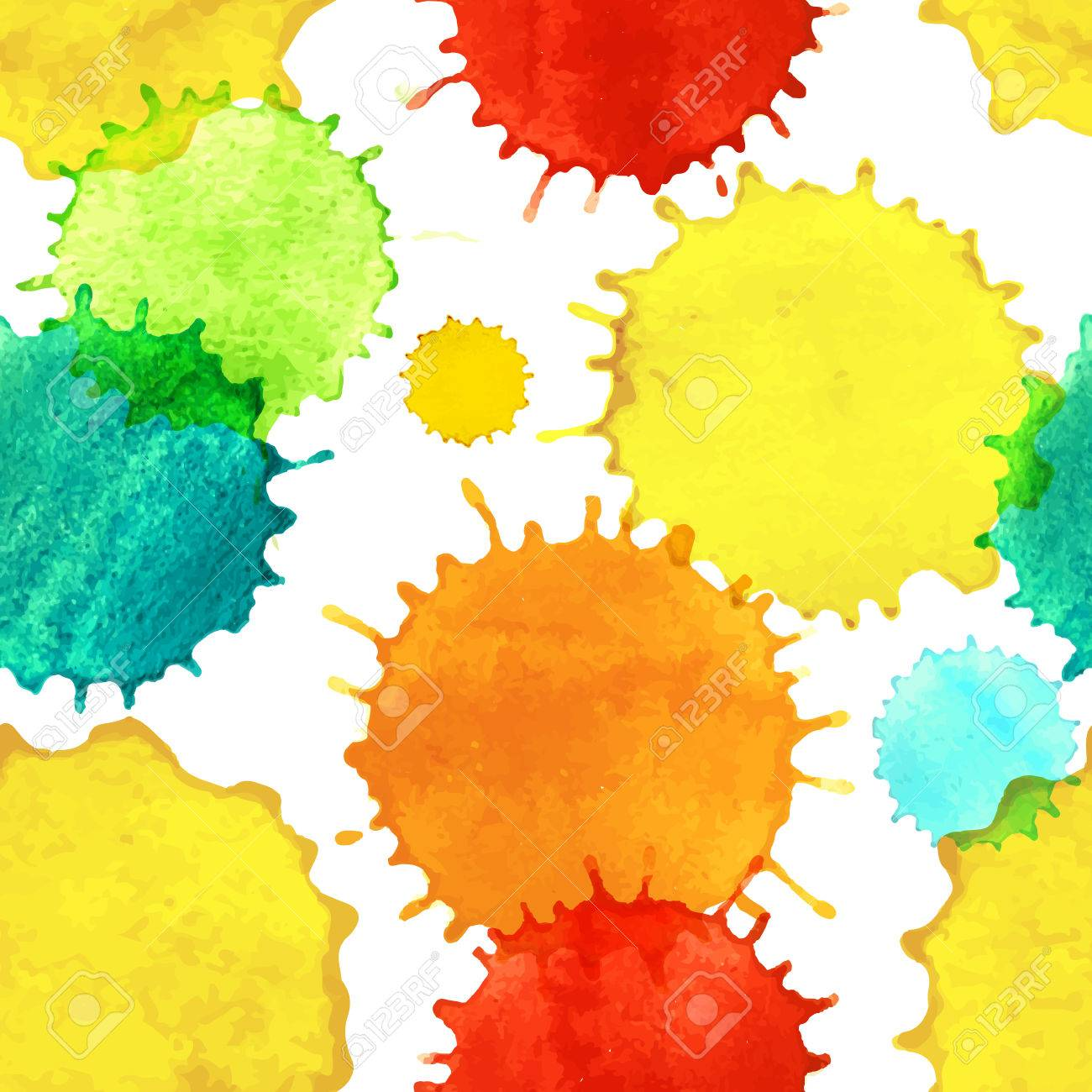 Seamless pattern with colorful watercolor paint splash drops  Template for your design  Vector illustration Stock Vector - 26017957