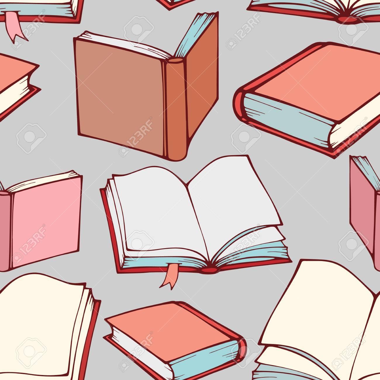 Dekorative Bücher nahtlose muster mit hand gezeichneten dekorative bücher lizenzfrei
