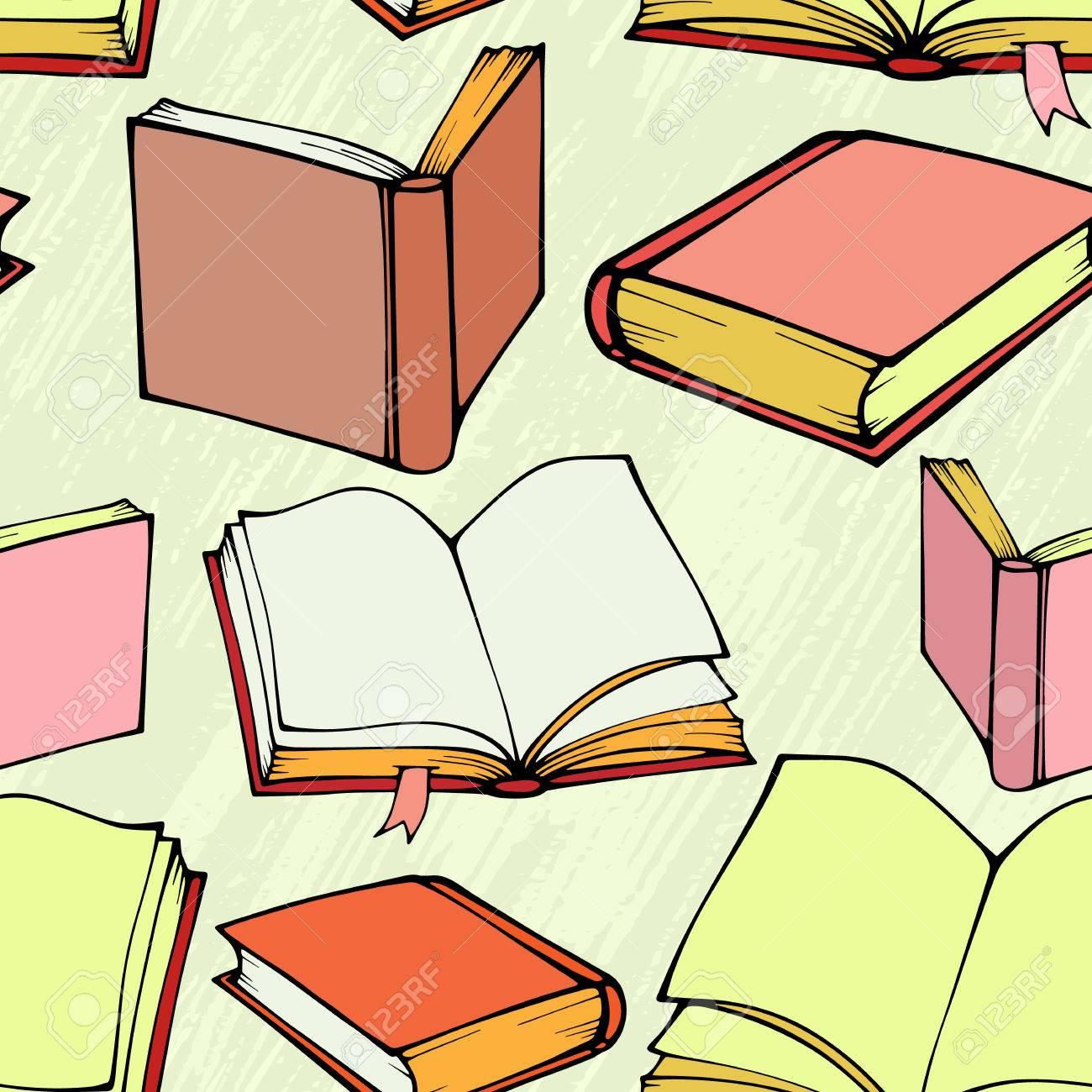 Dekorative Bücher nahtloses muster mit hand gezeichnet dekorative bücher lizenzfrei