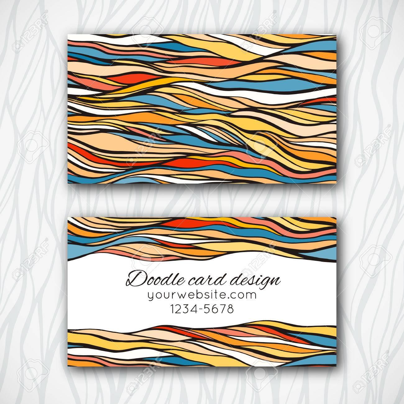 Abstrakt Doodle Visitenkarten Vorlage