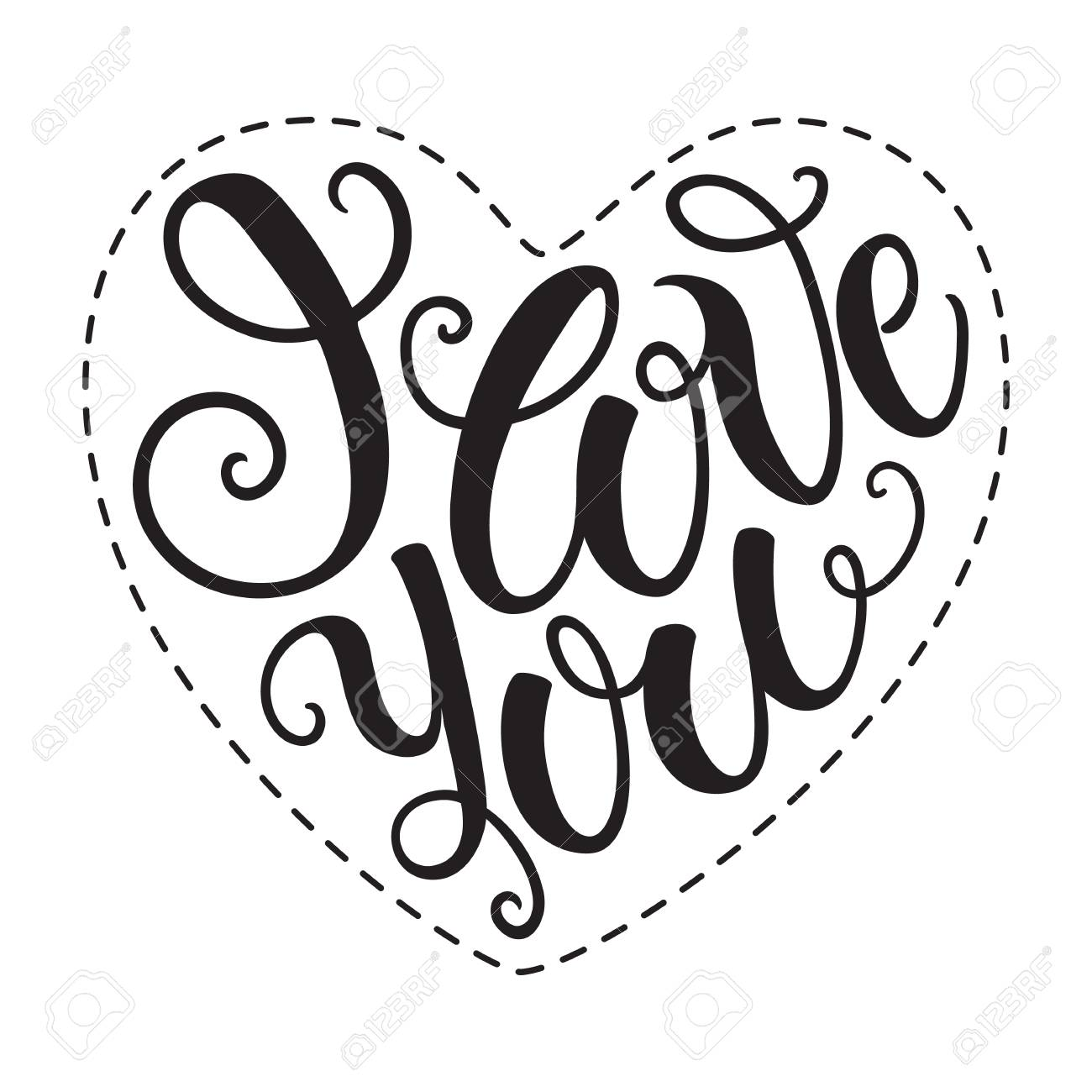 i love you doodle heart shaped hand lettering romantic background