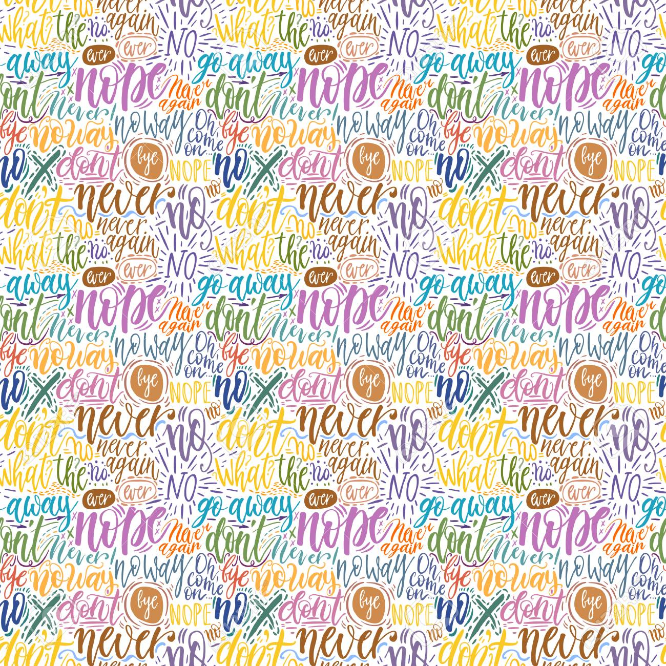 Hand Lettering Doodle Seamless Pattern With Words Of Protest