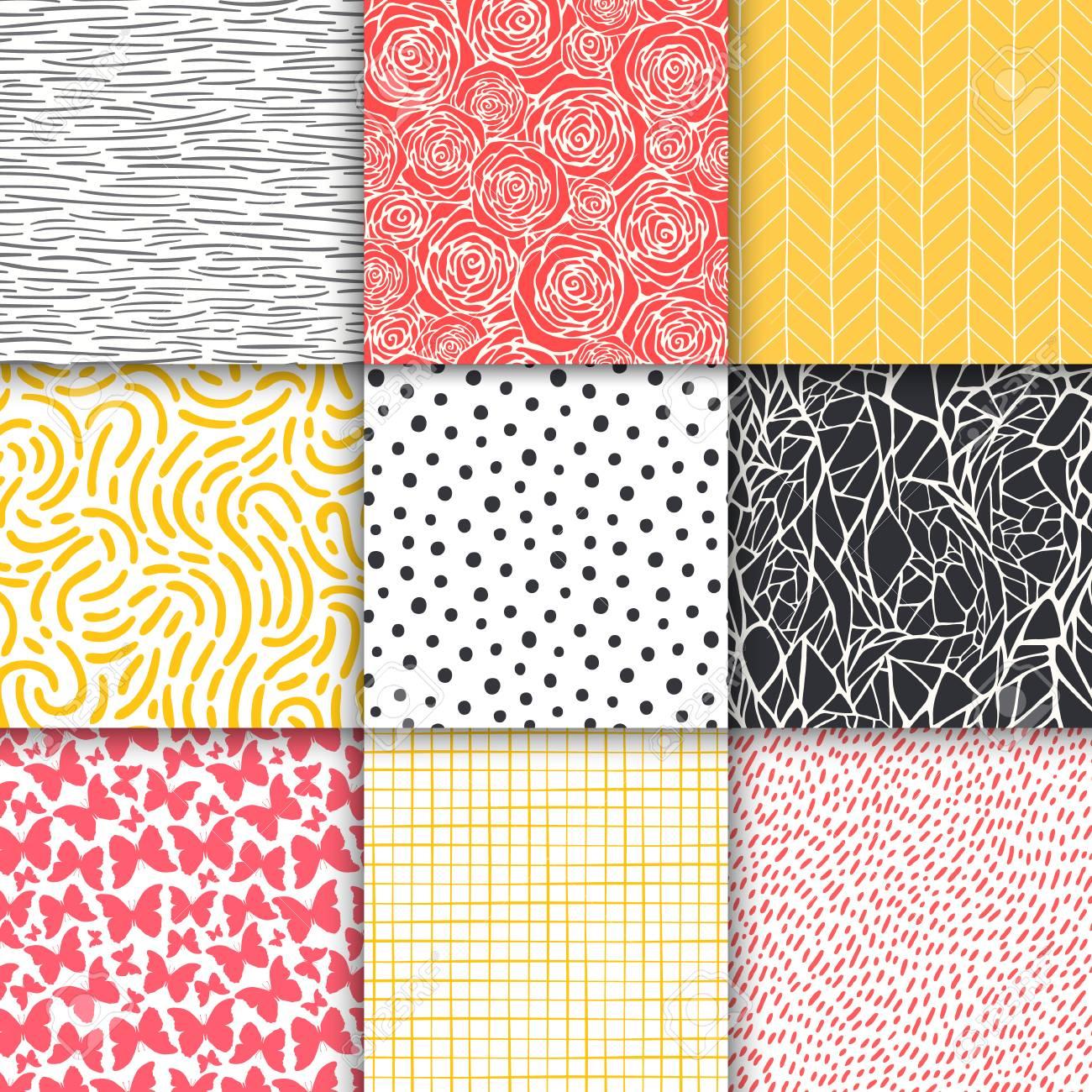 Abstract hand drawn geometric simple minimalistic seamless patterns set. Polka dot, stripes, waves, random symbols textures. Vector illustration - 120818988