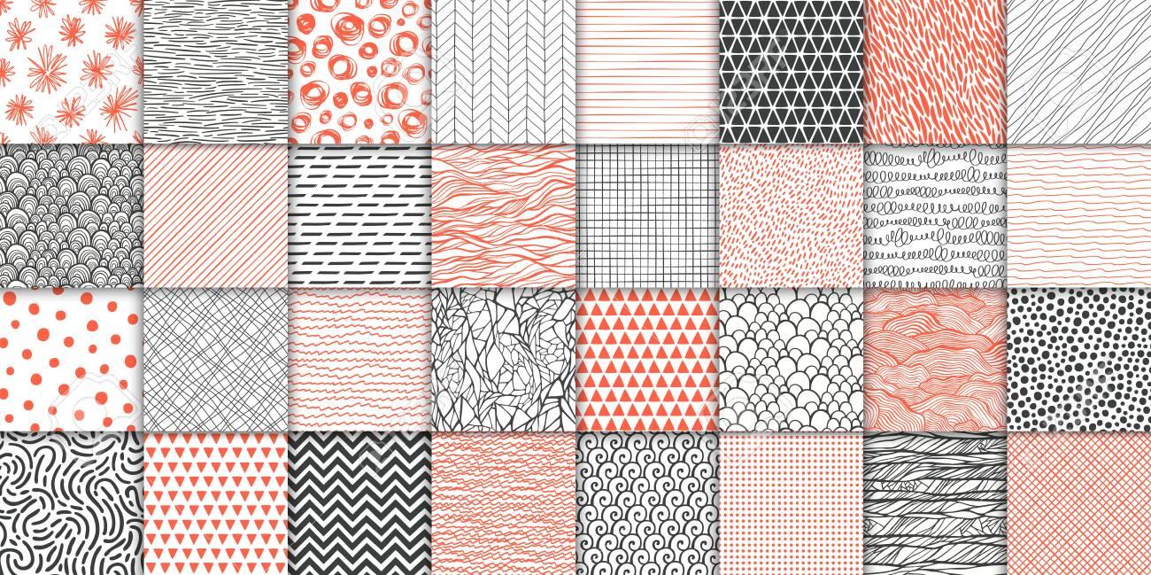 Abstract hand drawn geometric simple minimalistic seamless patterns set. Polka dot, stripes, waves, random symbols textures. Vector illustration - 122930235