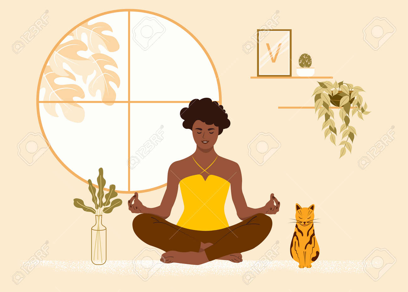 African American girl sits in the lotus position at home with her cat. The woman is engaged in yoga, meditation. Flat vector illustration - 167806883