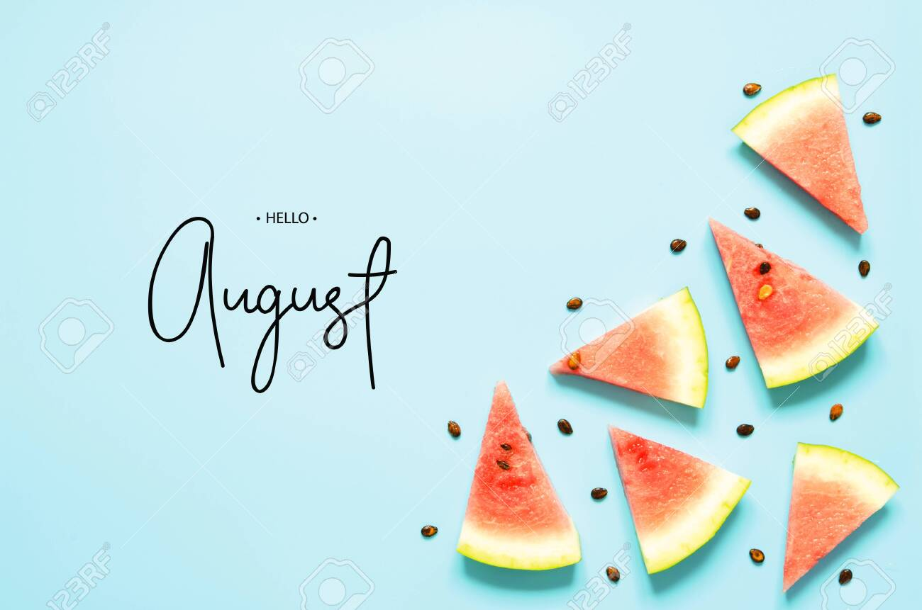 Inscription Hello August. Fresh red watermelon slice Isolated light blue background. Top view, Flat lay. - Image - 127236558